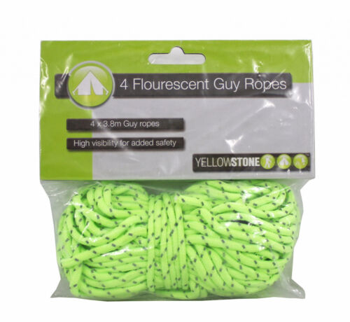 YELLOWSTONE OUTDOOR CAMPING HIGH VIS GUY LINES /& RUNNERS 4 PACK 3.8M