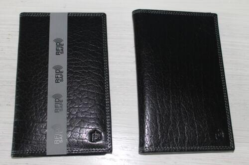 RFID Blocking Black Leather Mens Notecase Suit Jacket Wallet Slim Long