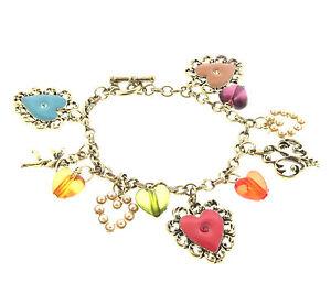 Charm bracelet Vintage Gold tone 7.5 Hearts Valentines