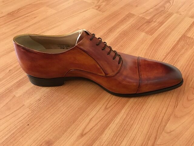 Ambra smoke lace up dress shoe for men with burnish cap toe-Francesco Benigno