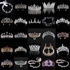 Luxury Gold Rhinestones Baroque Bridal Crown Tiara Wedding Bride Hair Headdress