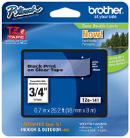 Brother 3/4 (18mm) Black On Clear P-touch Tape For Pt1800, Pt-1800 Label Maker