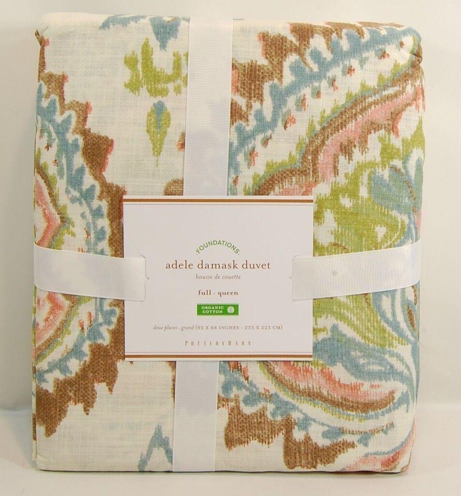 NEW POTTERY BARN ADELE DAMASK Duvet Cover  Linen Cotton  Full Queen  229