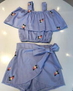 US-2PCS-Toddler-Kid-Baby-Girl-Summer-Clothes-T-shirt-Tops-Shorts-Pants-Outfits