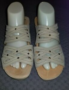 Women-039-s-SPRING-STEP-Beige-Tan-Wedge-Heel-Slide-Sandals-Euro-Sz-40-US-9-EUC