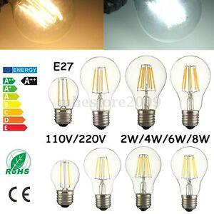 E27 2W/4W/6W/8W Dimmable LED COB Retro Edison Filament Bulb Lamp Light 110V 220V