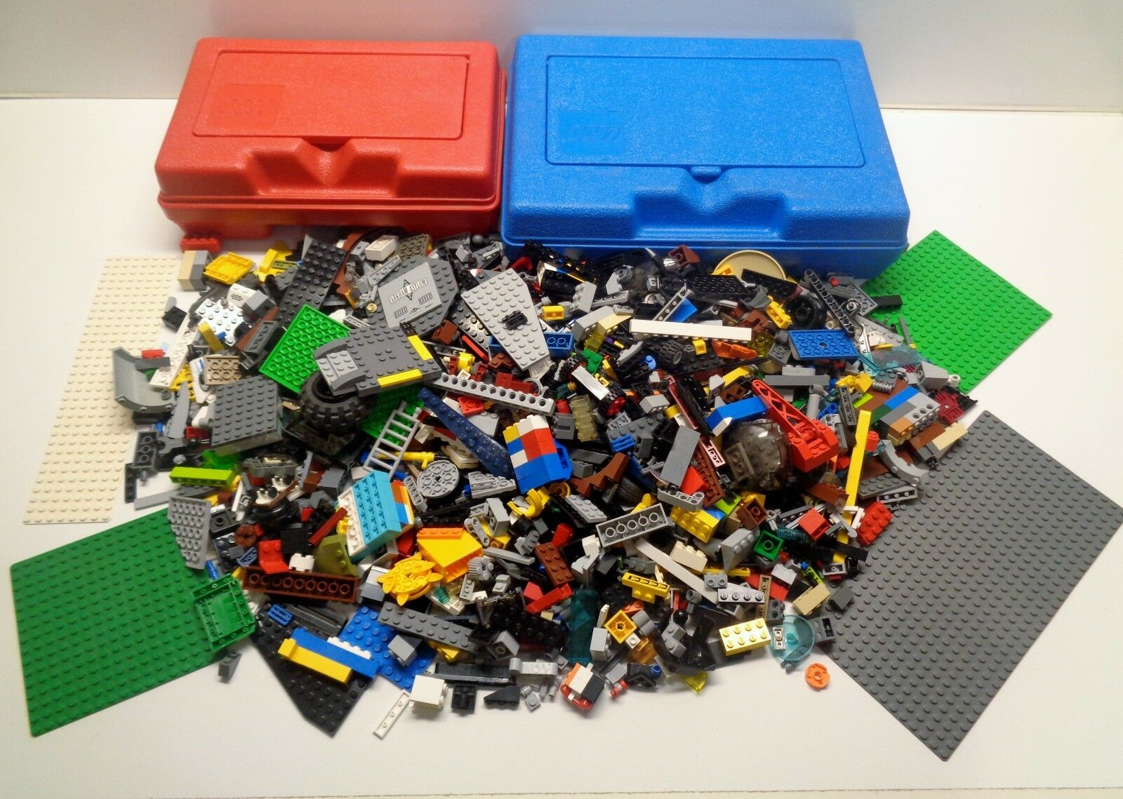 2 Vintage LEGO Red & bluee Storage Containers & 4.75 pounds of Lego Parts Pieces