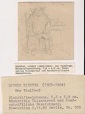 Adrian Ludwig Richter Original Bleistift Zeichnung - Der Vielfrass