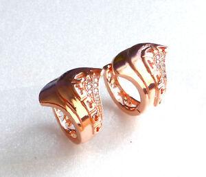 chapado-en-Oro-Rosa-Mujer-Cristal-Circonita-Pendientes-Aro-Cierre-Presion