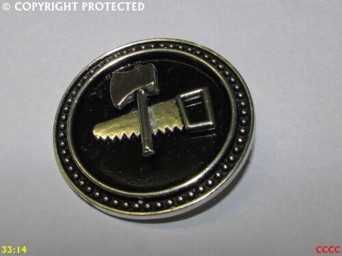 steampunk brooch badge pin silver axe saw lumberjack carpenter joiner tree wood
