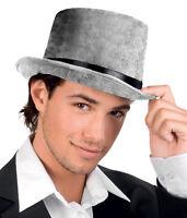 MENS LADIES VICTORIAN GREY TOP HAT VELVET STEAMPUNK FANCY DRESS COSTUME NEW