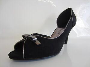 Anne-Michelle-L2R265-Ladies-Black-Microfibre-Court-Shoe-with-Bow-UK-3-8-R14A