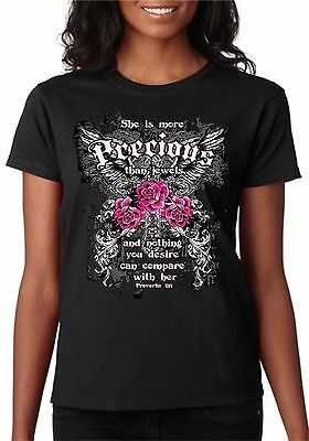 SHE IS MORE PRECIOUS THAN JEWELS PROVERBS 3:15 LADIES CHRISTIAN T-SHIRT S - 3XL