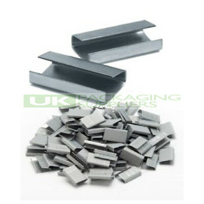 4000 x METAL SEALS CLIPS FOR HAND PALLET STRAPPING BANDING 12MM X 25MM SEMI OPEN