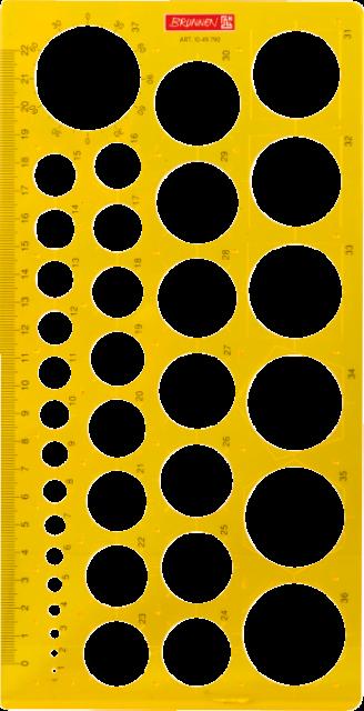 BRUNNEN Kreisschablone Lochschablone Zeichenschablone 37 Kreise 1-37mm 10-49790