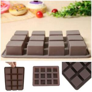 12-Square-Cake-Chocolate-Bar-Candy-Mold-Professional-Silicone-Bakeware-Mould-8C
