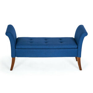 Terrific Details About Button Tufted Storage Settee Couch Vintage Bench Bedroom W Wood Legs Blue Gmtry Best Dining Table And Chair Ideas Images Gmtryco
