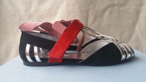 Enkelbandje Prada sandalen Schoen Up 5 37 leren Runway Snakeskin Suede Lace Platte Yvbf67gy