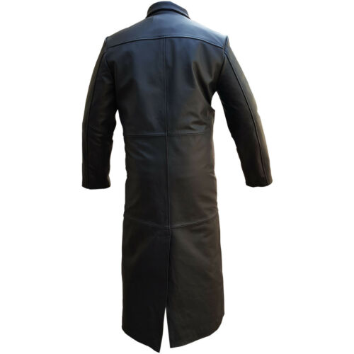 Gothic Black Sexy Real Coat Goth Matrix Full Length Mens Trench Leather waHvEP