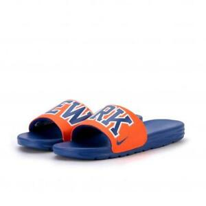 best service 1e72d 998bb Image is loading Nike-Benassai-SLIDE-SANDAL-NEW-YORK-KNICKS-METS-