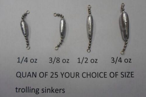 Quan de 25 Trolling pesées perle boule chaîne 1//4 3//8 1//2 3//4 oz