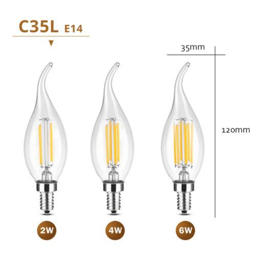 E27 E14 Led Edison Filament Birne 2W 4W 6W Warmweiß//kaltweiß AC220V Kerzenform