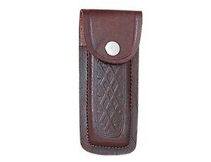 Folding-Pocket-Knife-Sheath-5-034-Textured-Brown-Genuine-Leather-Belt-Case