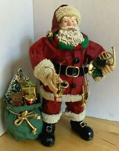 Vintage-Clothtique-Santa-Claus-With-French-Horn-amp-Assorted-Musical-Instruments