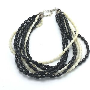 DRT Jay King Black White Coral Necklace Sterling Silver 8 Strand