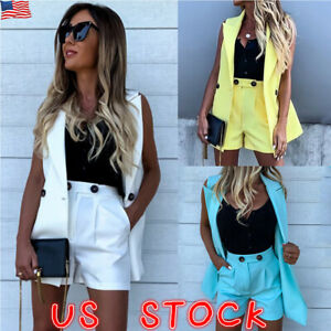 Women-Ladies-Sleeveless-Suit-Collar-Vest-Blazer-OL-Slim-Coat-Shorts-2Pcs-Set-US