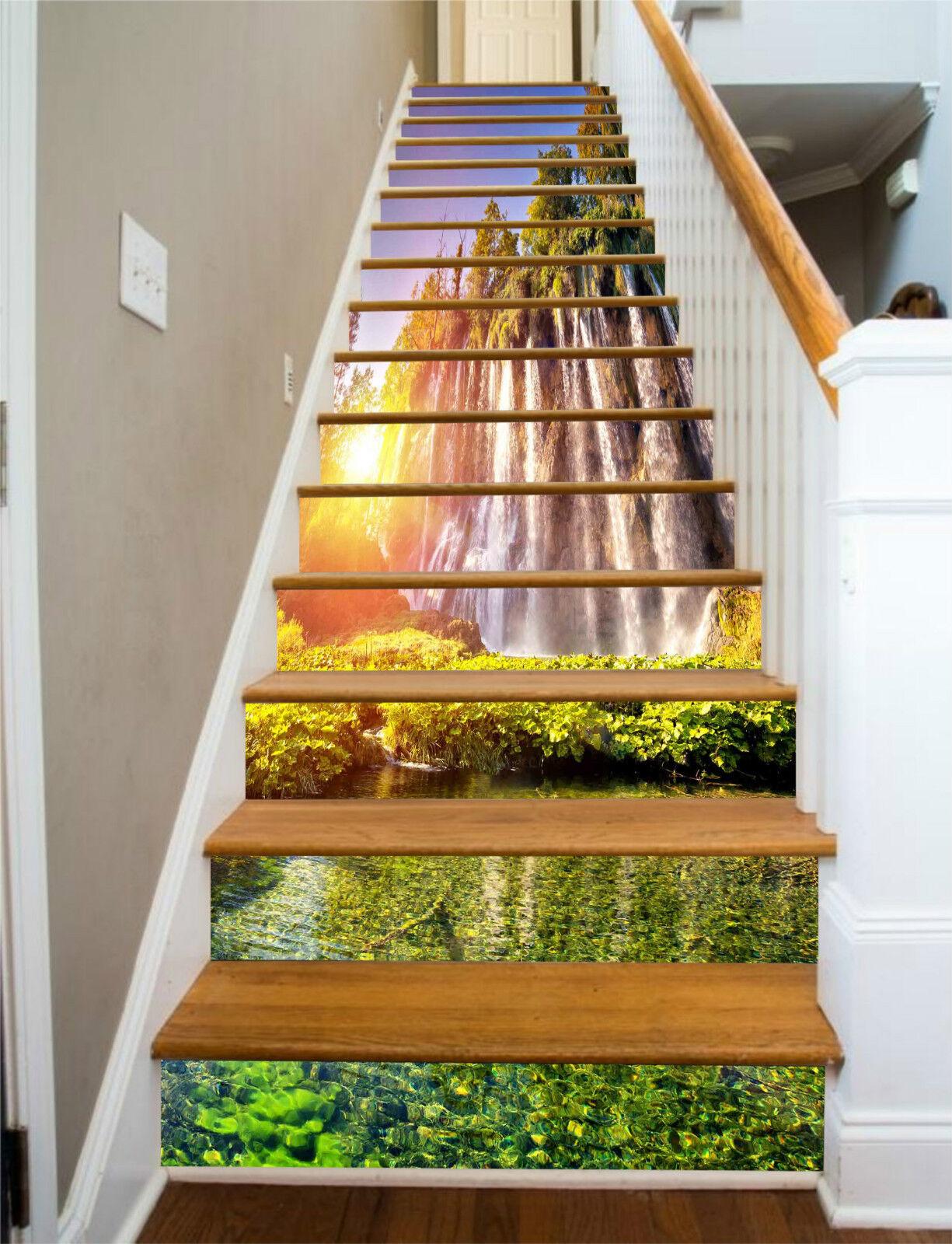 3D Wasserfall Wald 8Stair Risers Dekoration Fototapete Vinyl Aufkleber Tapete DE