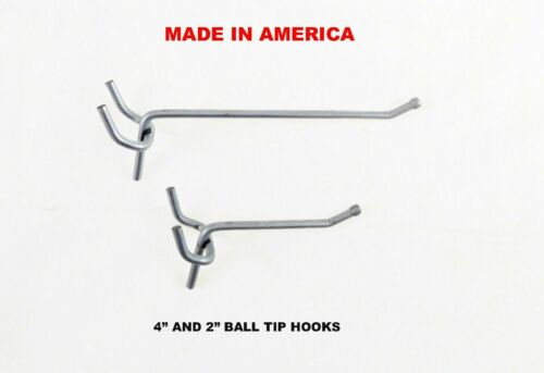 "100 each 2/"" /& 4/"" All Metal Peg Hooks 1//8/"" to 1//4/"" Pegboard Slatwall Garage kit"