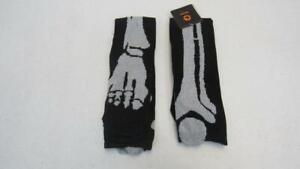 Halloween-Ladies-Knee-High-Socks-Black-w-Silver-Skeleton-Bones-One-Size-NEW