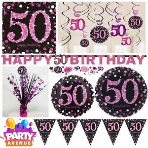 Image is loading Pink-Sparkling-Celebration-50th-Birthday-Party-Tableware- Decorations-  sc 1 st  eBay & Pink Sparkling Celebration 50th Birthday Party Tableware Decorations ...