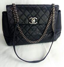 100% Authentic CHANEL MAXI Caviar Leather Flap Bag Dark Blue Cross-body MINT