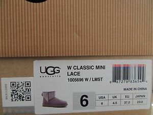 Image is loading UGG-CLASSIC-MINI-LACE-LAVENDER-MIST-SPARKLE-SUEDE-