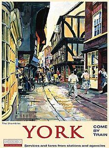 York-Shambles-Alt-Schienen-Anzeige-Grosses-Schild-aus-Stahl-400mm-x-300mm-Og