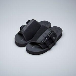 KAW-VS Black Vibram Cow Suede Leather Sandals Slides Suicoke SS19 OG-081VS