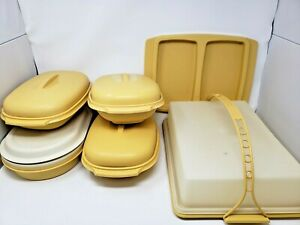Vintage-Tupperware-Harvest-Gold-Lot-622-815-1273-Containers