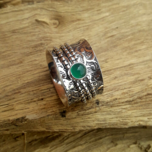 Green Onyx Stone Solid 925 Sterling Silver Spinner  Meditation Ring Size K39