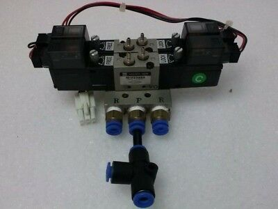 with 4 Valves SMC VZ110 Solenoid  Valve Manifold Assembly Used