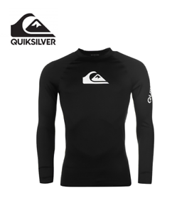 Genuine Quiksilver  Rash Vest Mens Long Sleeve Logo Tank Top Surfing Beachwear