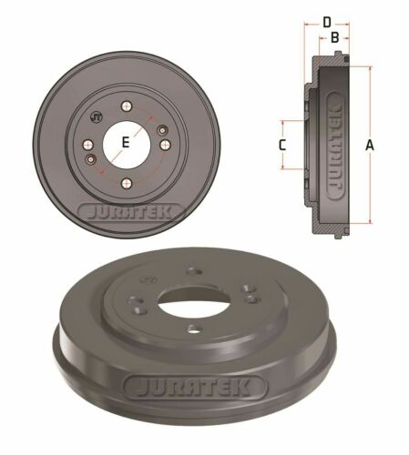 PETROL JURATEK REAR BRAKE DRUM FOR HYUNDAI GETZ 1.3 1341CCM 85HP 63KW