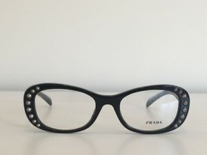 cd2f0f71a3b5 A7 Prada VPR 21R 1AB-1O1 Oval Eyeglasses Black Studs Optical Frame ...