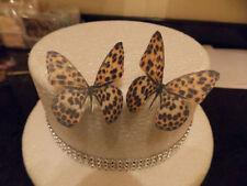 12 PRECUT Leopardato commestibili wafer / carta di riso FARFALLE TORTA / decorazioni per cupcake
