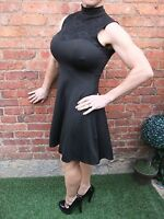 BNWT ~ BOOHOO BLACK & LACE SKATER GOTHIC STRETCHY COCKTAIL PARTY DRESS ~ UK 8