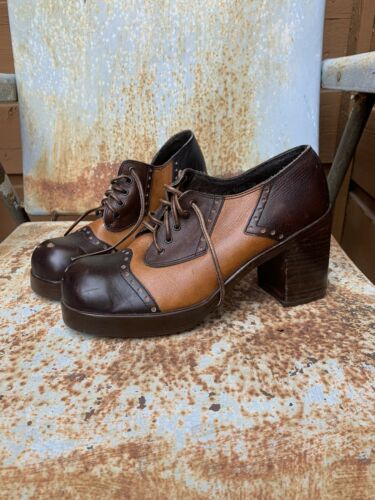 70s Brown Leather Oxford Platforms