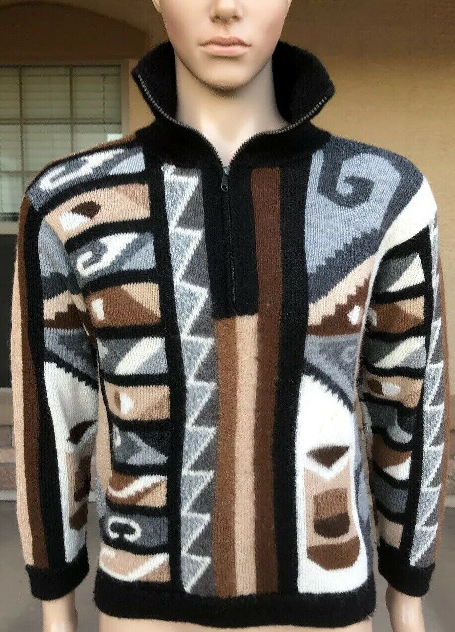 Vintage La Vicunita Baby Alpaca 1 4 Zip Sweater Peru Made Größe Medium Geometric