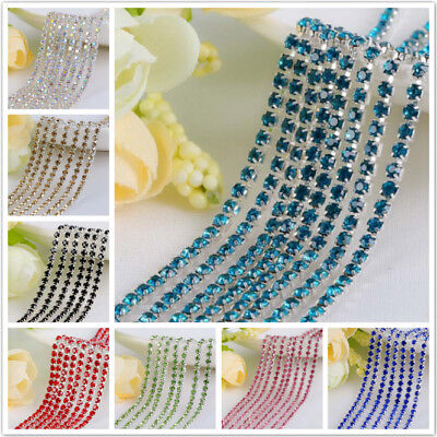 6.0mm SS28 Sew On Rhinestones Trims Close Chain Sewing Crystals Glass Cup Silver