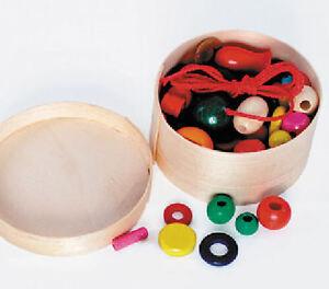 Holz-Perlen Kette Armband Schmuck Bänder Kinderschmuck Holzperlen Spanschachtel